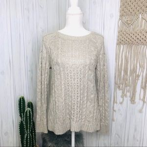American Eagle beige and metallic sweater